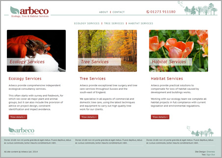 A page from the Arbeco web site