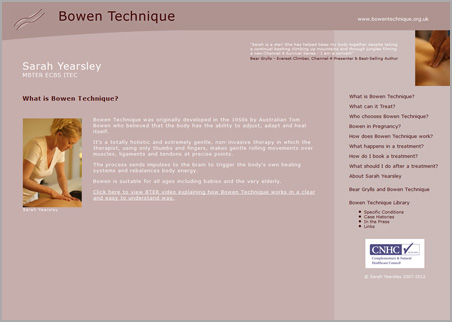 A page from the Bowen Technique web site