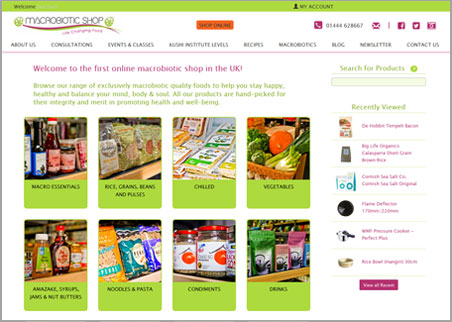 A page from the Macrobiotic Shop web site