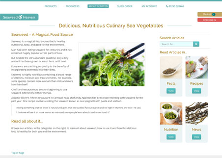 A page from the Seaweed Heaven web site